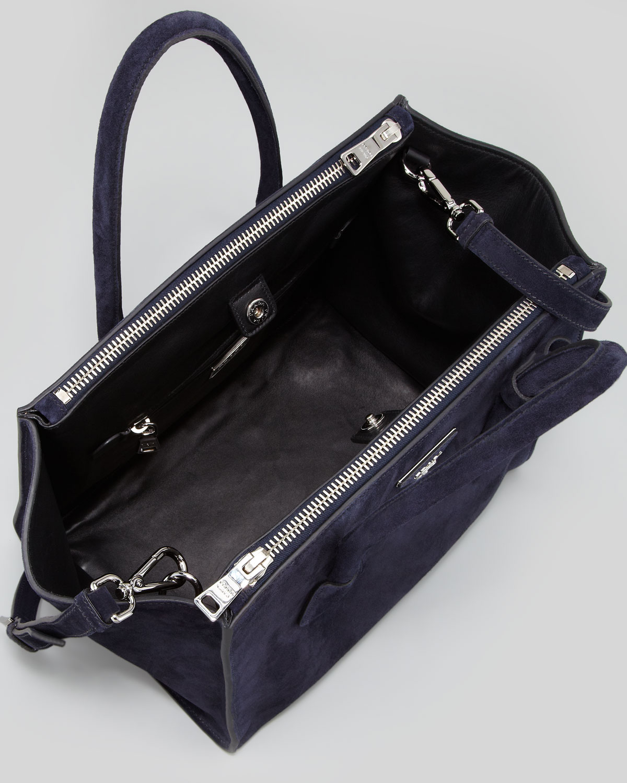 cb74e90284 Lyst - Prada Suede Twin Pocket Tote Bag in Blue
