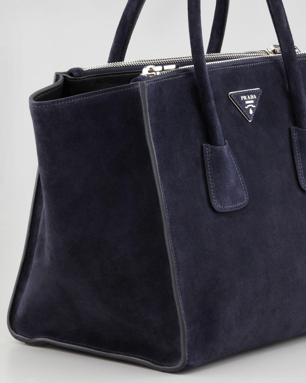 prda bag - Prada Suede Twin Pocket Tote Bag in Blue (navy) | Lyst
