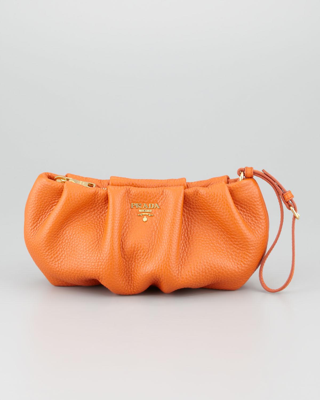 Prada Daino Pleated Wristlet Clutch Bag in Orange | Lyst