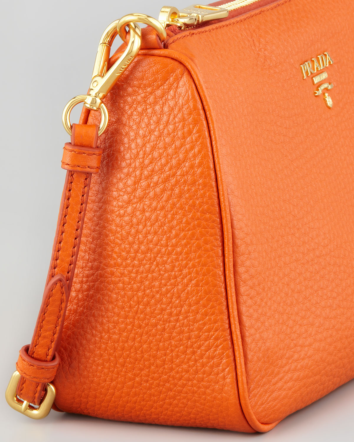 9387b84b7e ... leather x nylon ladys n8761 16d9b 345be  australia prada daino small  shoulder bag in orange lyst 3c17a 52920