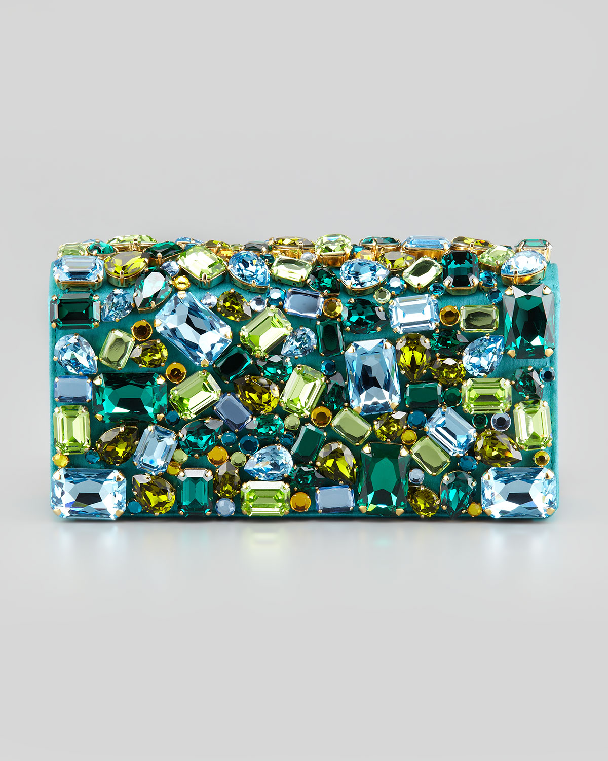 Prada Jeweled Satin Clutch Bag in Green (turquoise) | Lyst