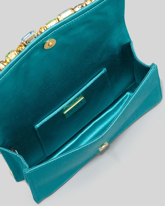 balenciaga look alike bags - Prada Jeweled Satin Clutch Bag in Green (turquoise) | Lyst