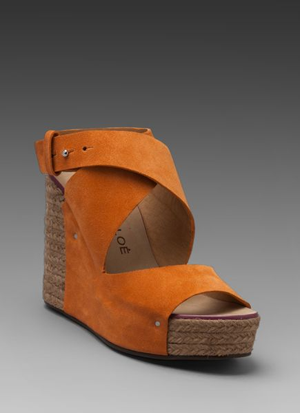 see by chlo 233 criss cross wedge espadrille in burnt orange