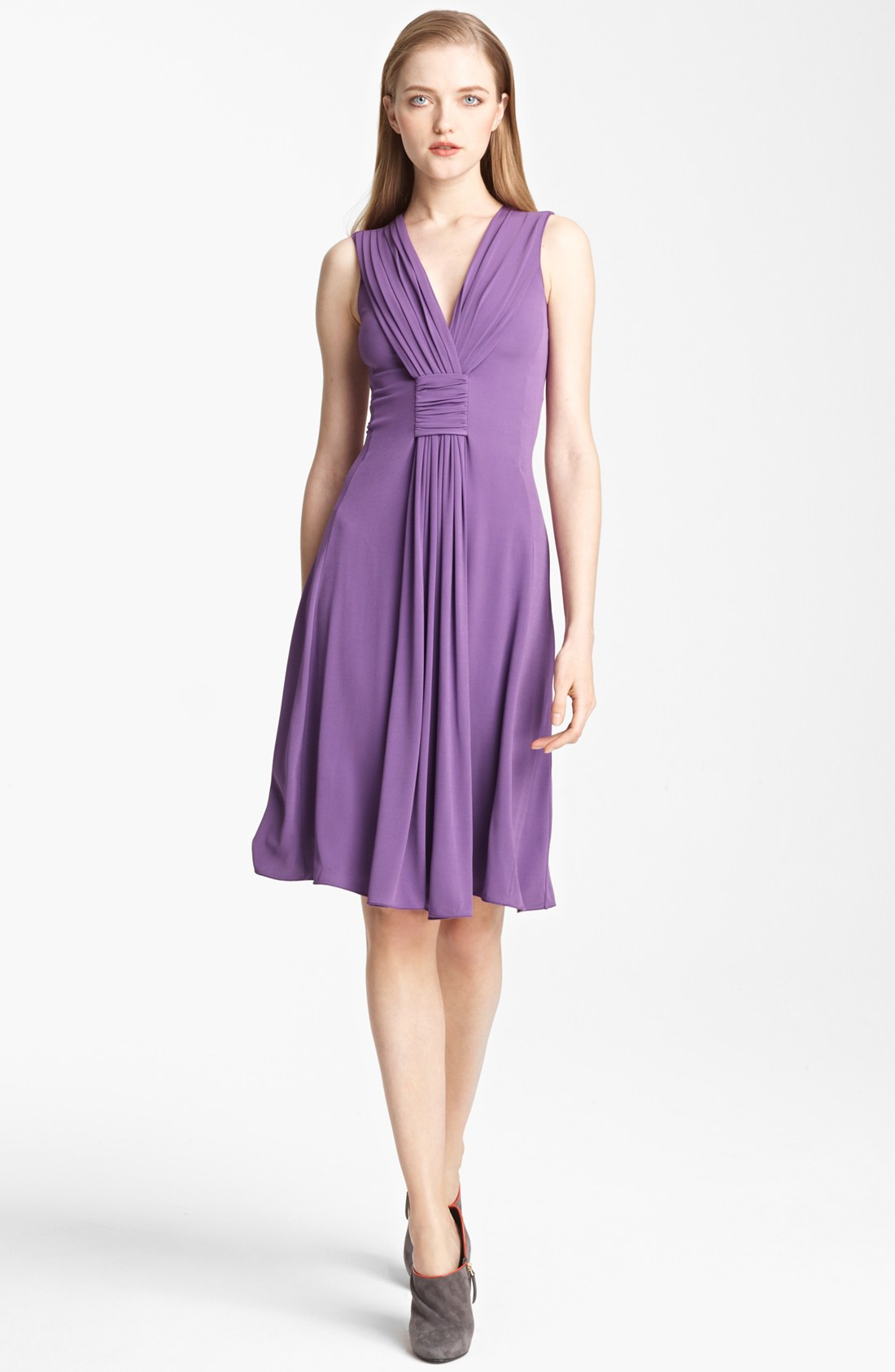 Armani Draped Jersey Dress in Purple | Lyst