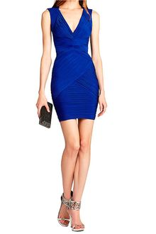 BCBGMAXAZRIA Edesa Shirred Cocktail Dress - Lyst