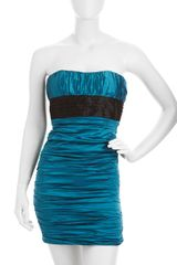 BCBGMAXAZRIA Strapless Ruched Dress - Lyst