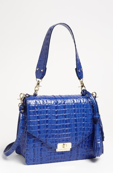 Brahmin Ophelia Croc Embossed Leather Shoulder Bag in Blue (indigo)
