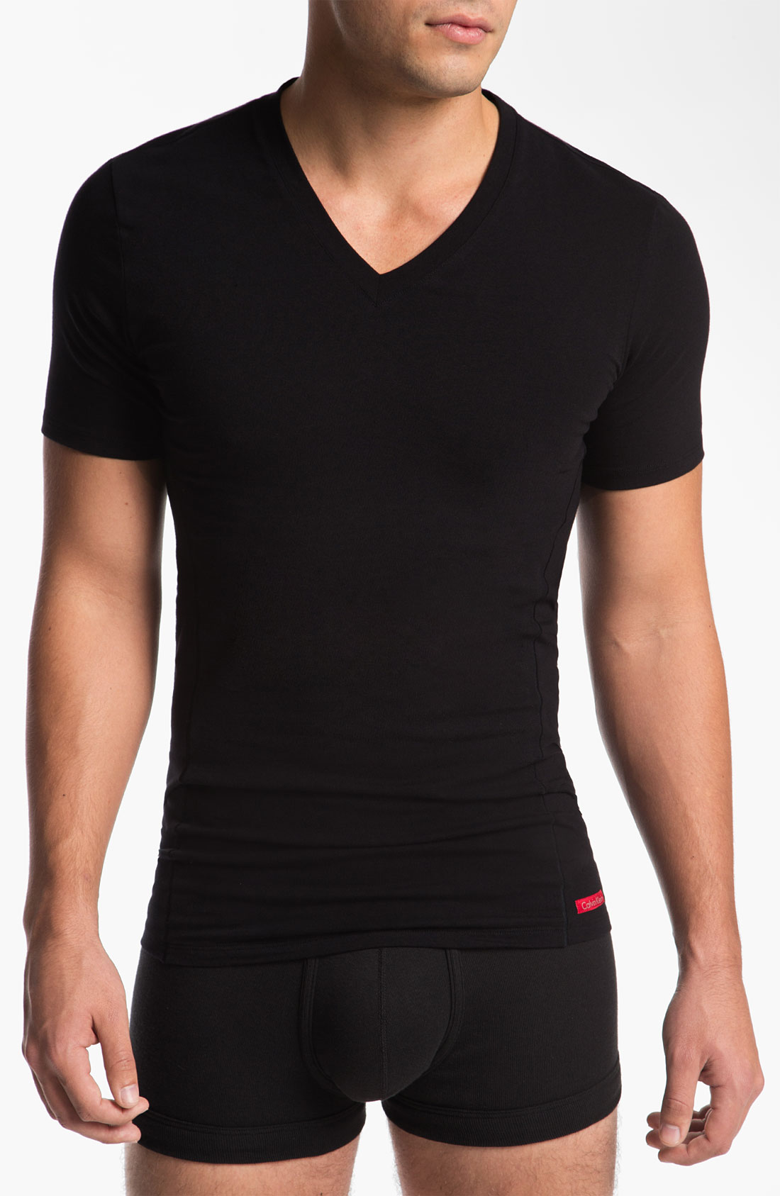 Calvin klein pro stretch slim fit vneck tshirt in black for Calvin klein slim fit stretch shirt