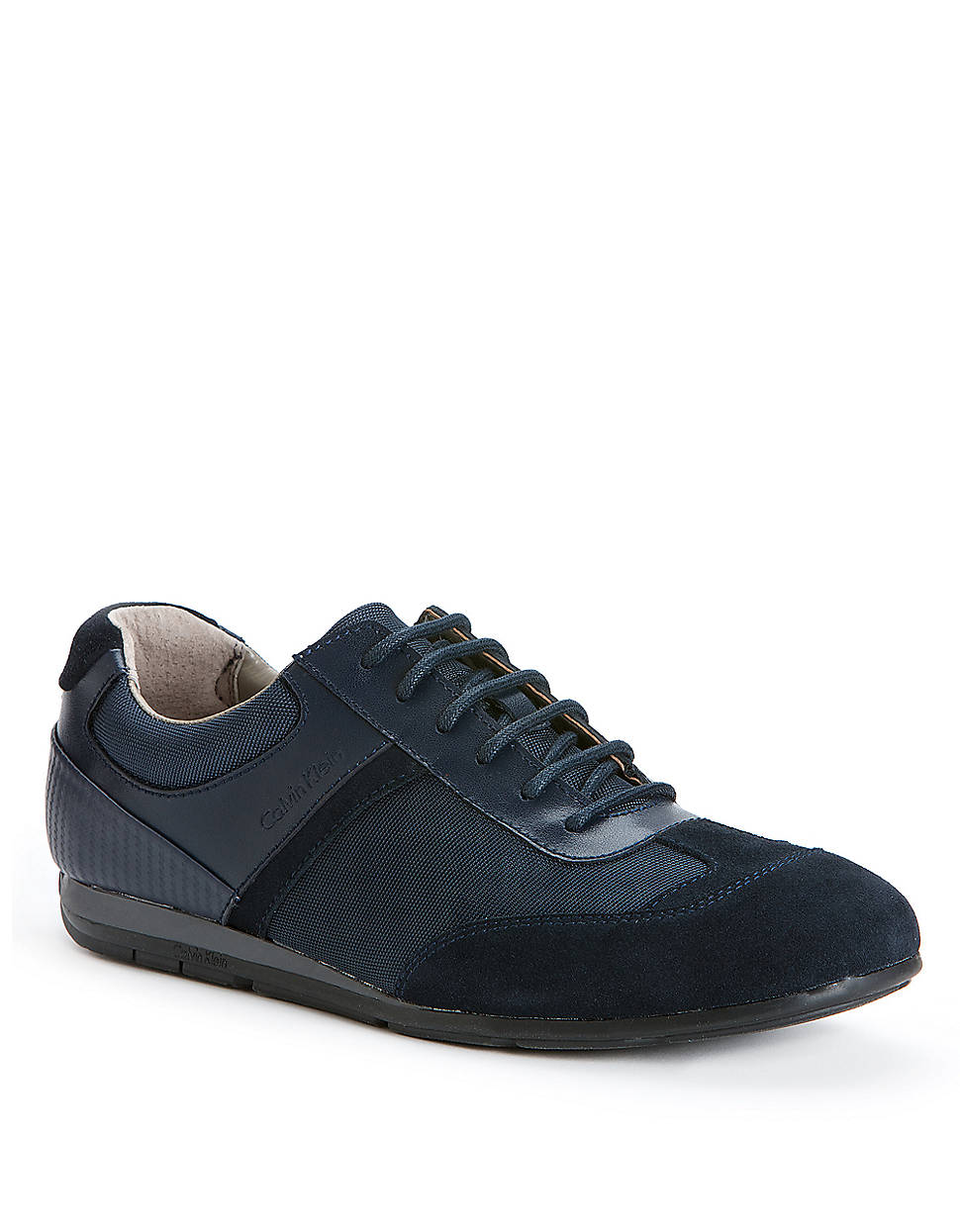 calvin klein kirk leather and suede sneakers in blue for. Black Bedroom Furniture Sets. Home Design Ideas