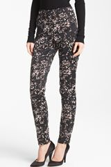 Donna Karan New York Collection Lace Print Stretch Satin Pants - Lyst