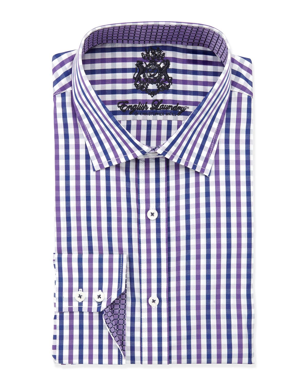 English Laundry Classic Fit Large Plaid Dress Shirt