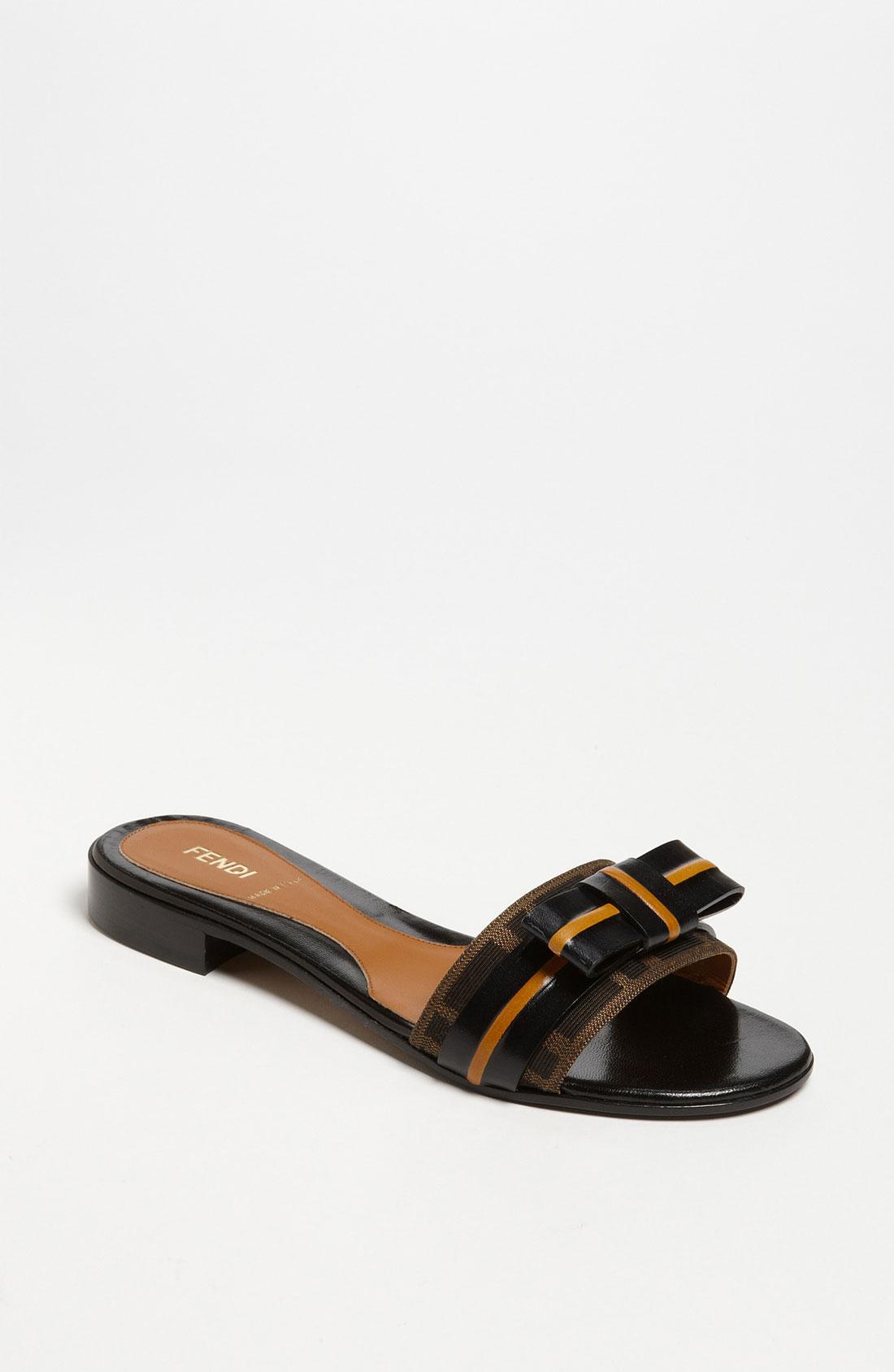 Fendi Pride Prejudice Bow Slide Sandal In Black Tobacco