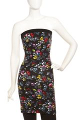 French Connection Floralprint Strapless Minidress - Lyst