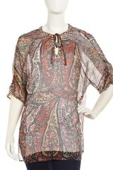 Joie Atlantis Beaded Silk Tunic  - Lyst