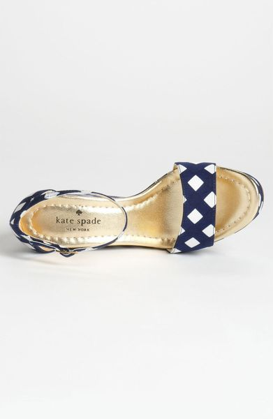 Kate Spade Dabney Wedge Sandal In Blue Navy Spring