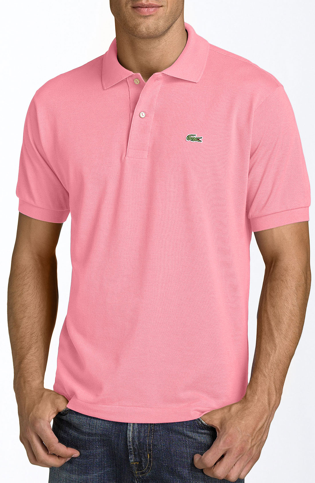 Lacoste piqu polo in pink for men new candy pink lyst for Nordstrom men s dress shirt fit guide