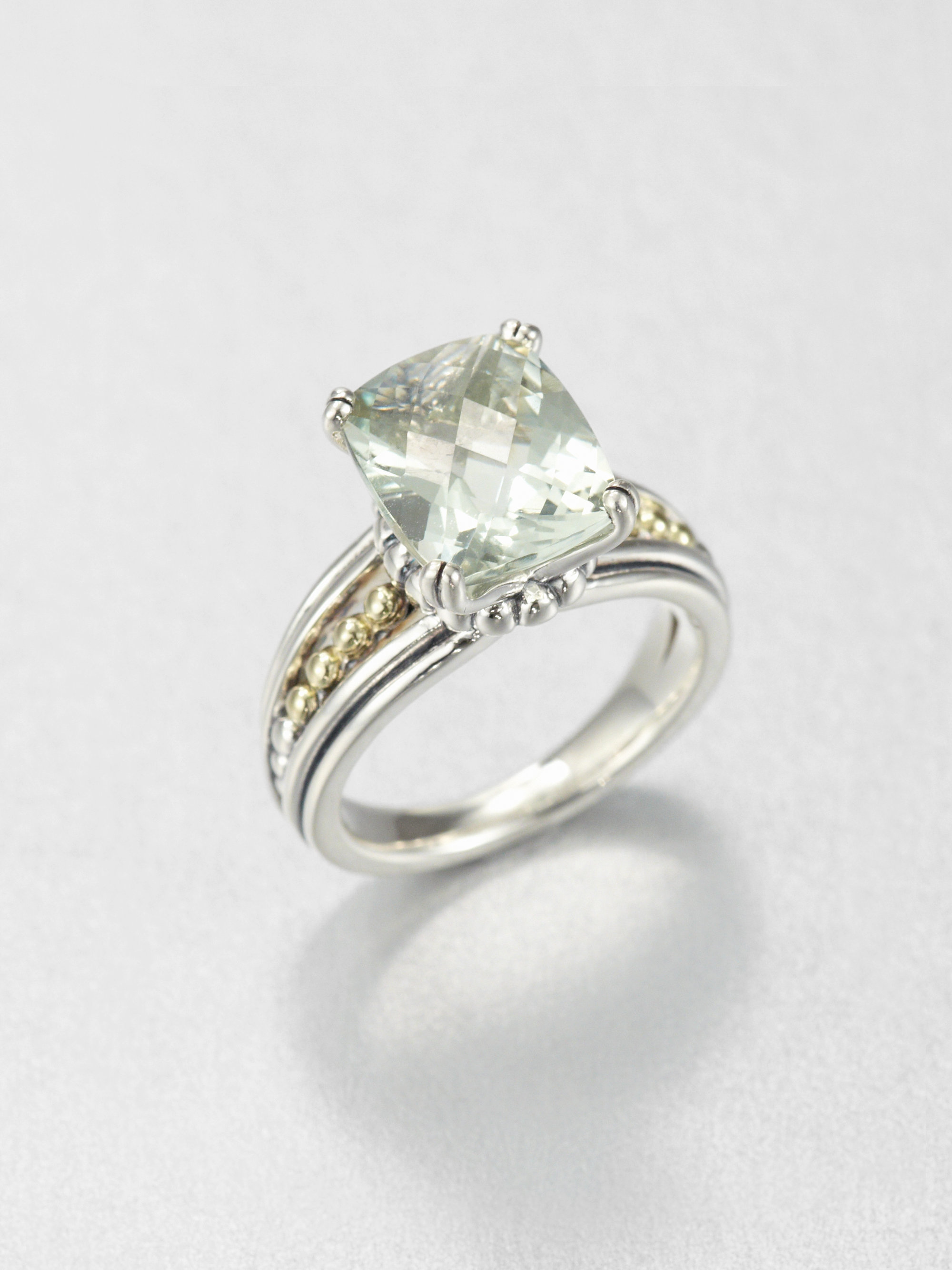Lagos Green Amethyst Sterling Silver And 18k Yellow Gold