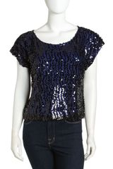 Laundry By Shelli Segal Sequin Boxy Top - Lyst