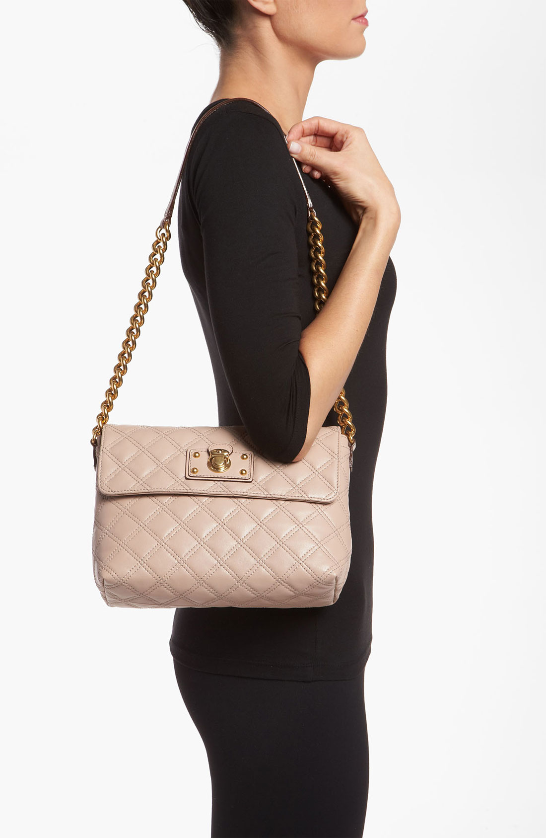 Marc jacobs Quilting Large Single Leather Shoulder Bag in Pink   Lyst : marc jacobs single quilted bag - Adamdwight.com