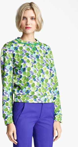 Marc Jacobs Floral Print Sweatshirt in Green (pink multi)
