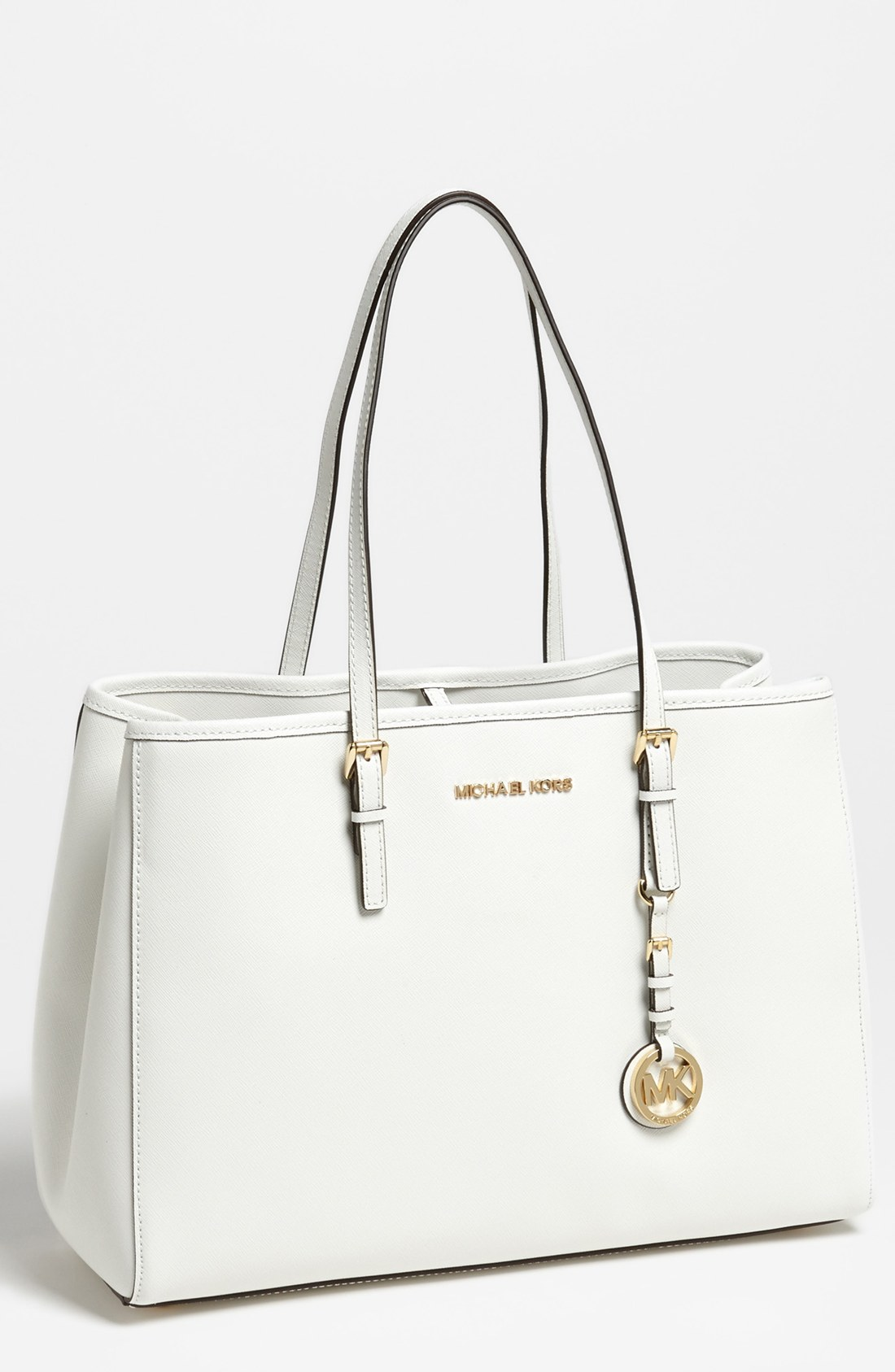 9574d29a5 ... Michael michael kors Jet Set Large Travel Tote in White Lys ...