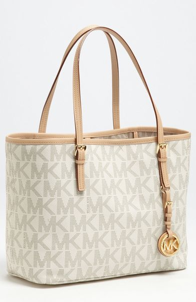 Bolsa Michael Kors Tote Vanilla : Michael kors jet set small travel tote in white