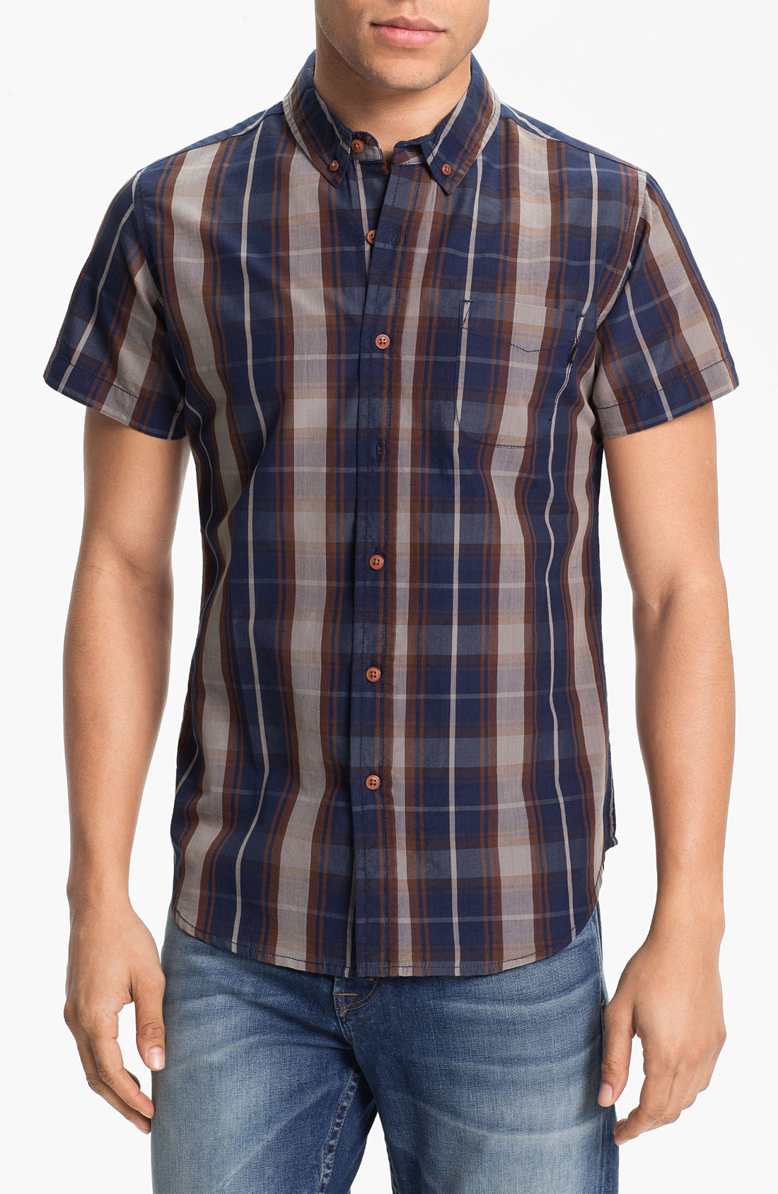 Obey short sleeve plaid shirt in blue for men navy lyst Short sleeve plaid shirts