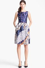 Oscar de la Renta Belted Print Dress - Lyst