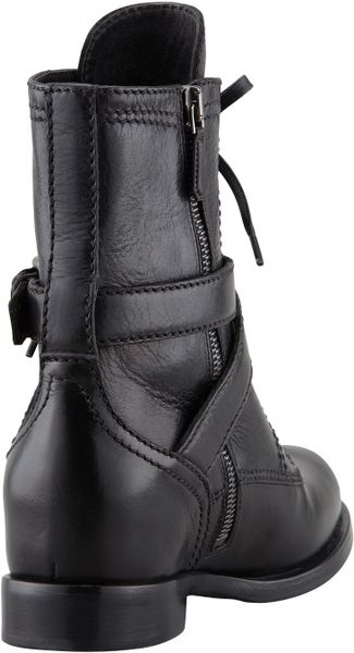 Prada Laceup Hidden Wedge Combat Boot In Black Lyst