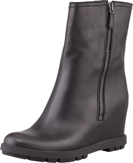 prada leather doublezipper wedge ankle boot black in black
