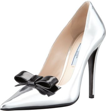 Prada Metallic Patent Bow Pump Silver Black - Lyst
