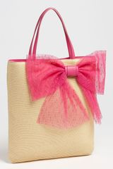 RED Valentino Bow Slim Straw Tote - Lyst