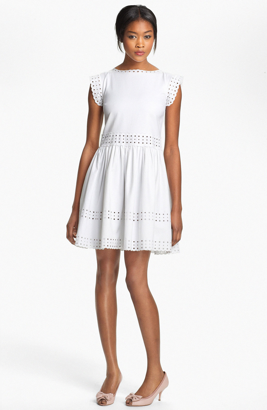 Red valentino embroidered dress in white lyst