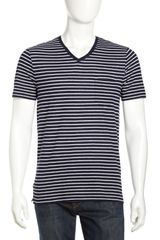 Vince Linen-blend Striped V-neck Tee - Lyst
