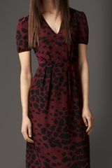 Burberry Animal Print Silk Dress - Lyst