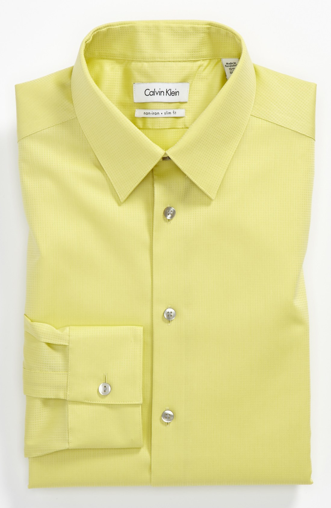 calvin klein miami check slim fit dress shirt in yellow