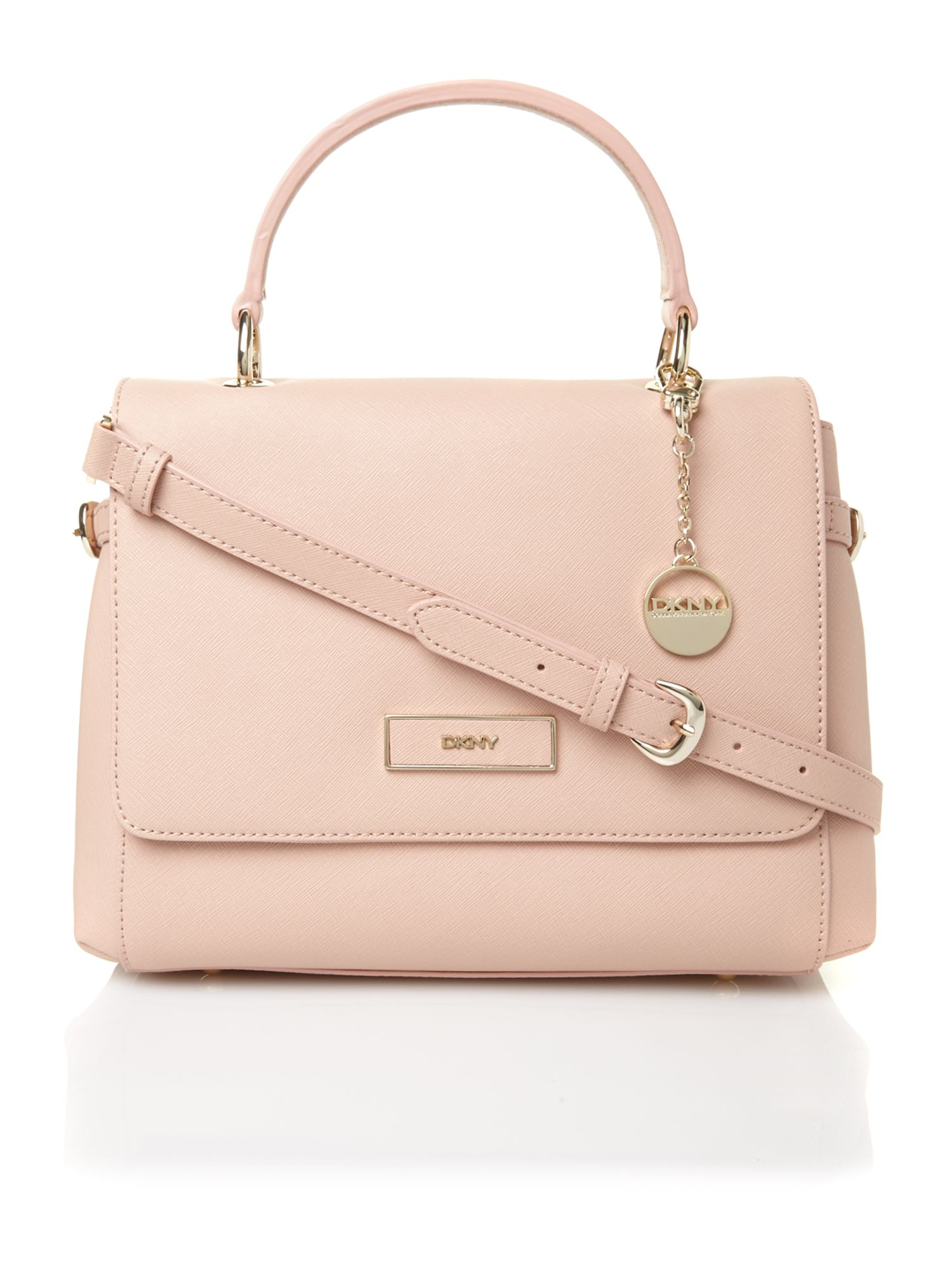 Dkny Saffiano-Leather Shoulder Bag in Pink | Lyst