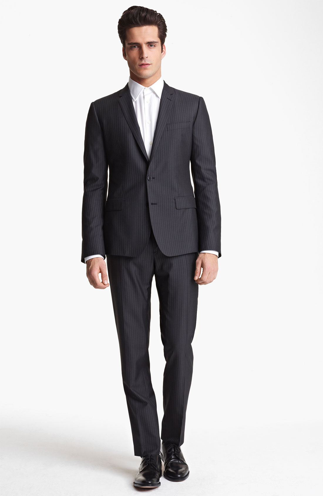 Dolce gabbana pinstripe wool silk suit in gray for men for Nordstrom men s dress shirt fit guide