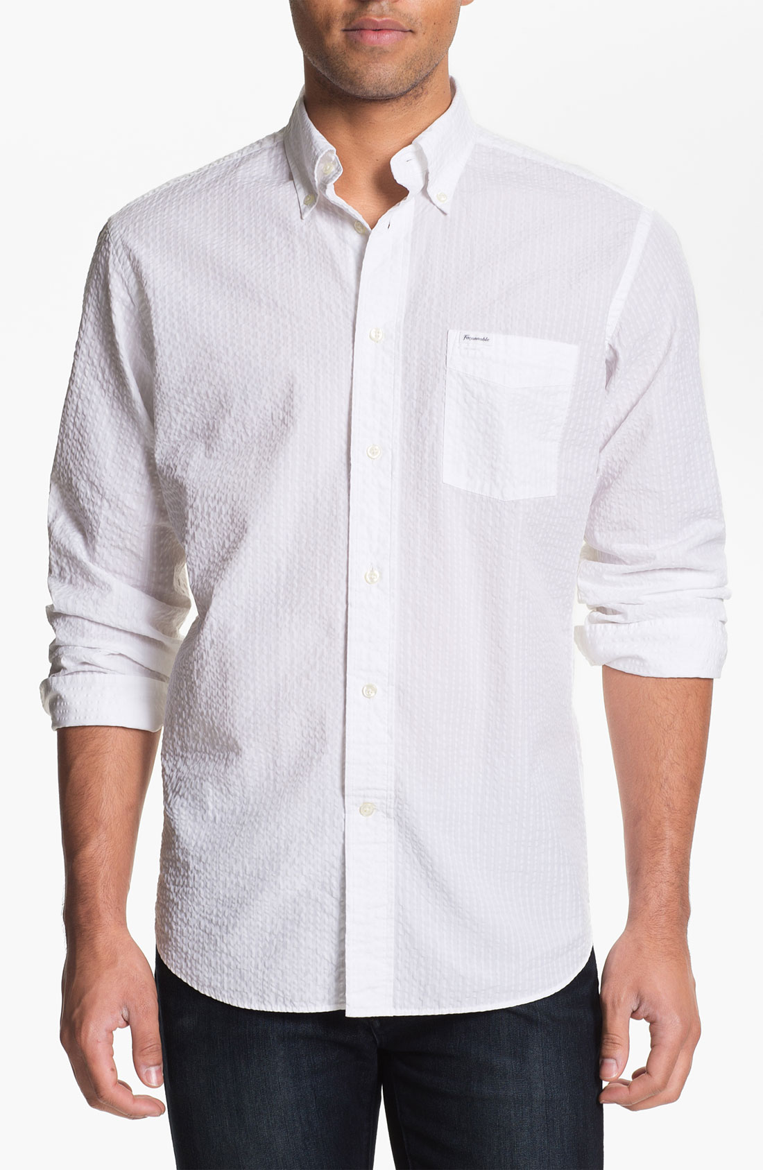 Fa onnable seersucker sport shirt in white for men lyst for Mens seersucker shirts on sale
