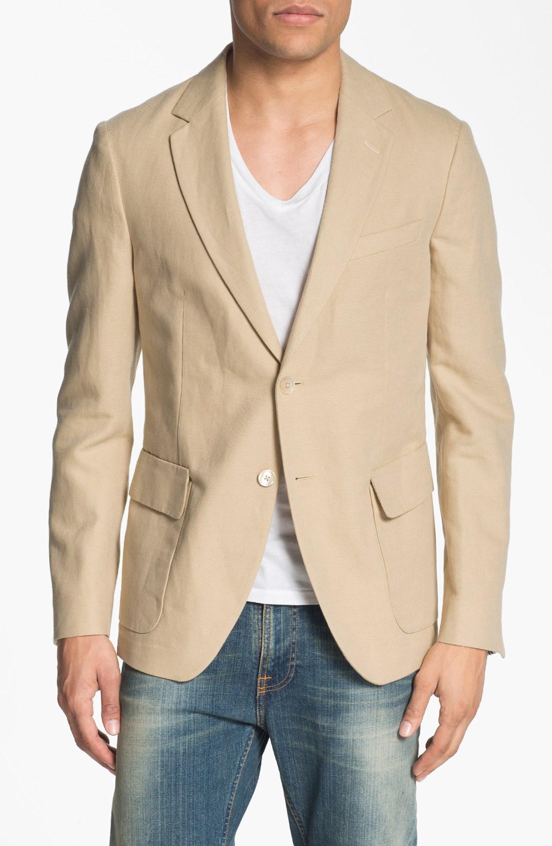 Gant Rugger Deconstructed Linen Blend Blazer In Beige For