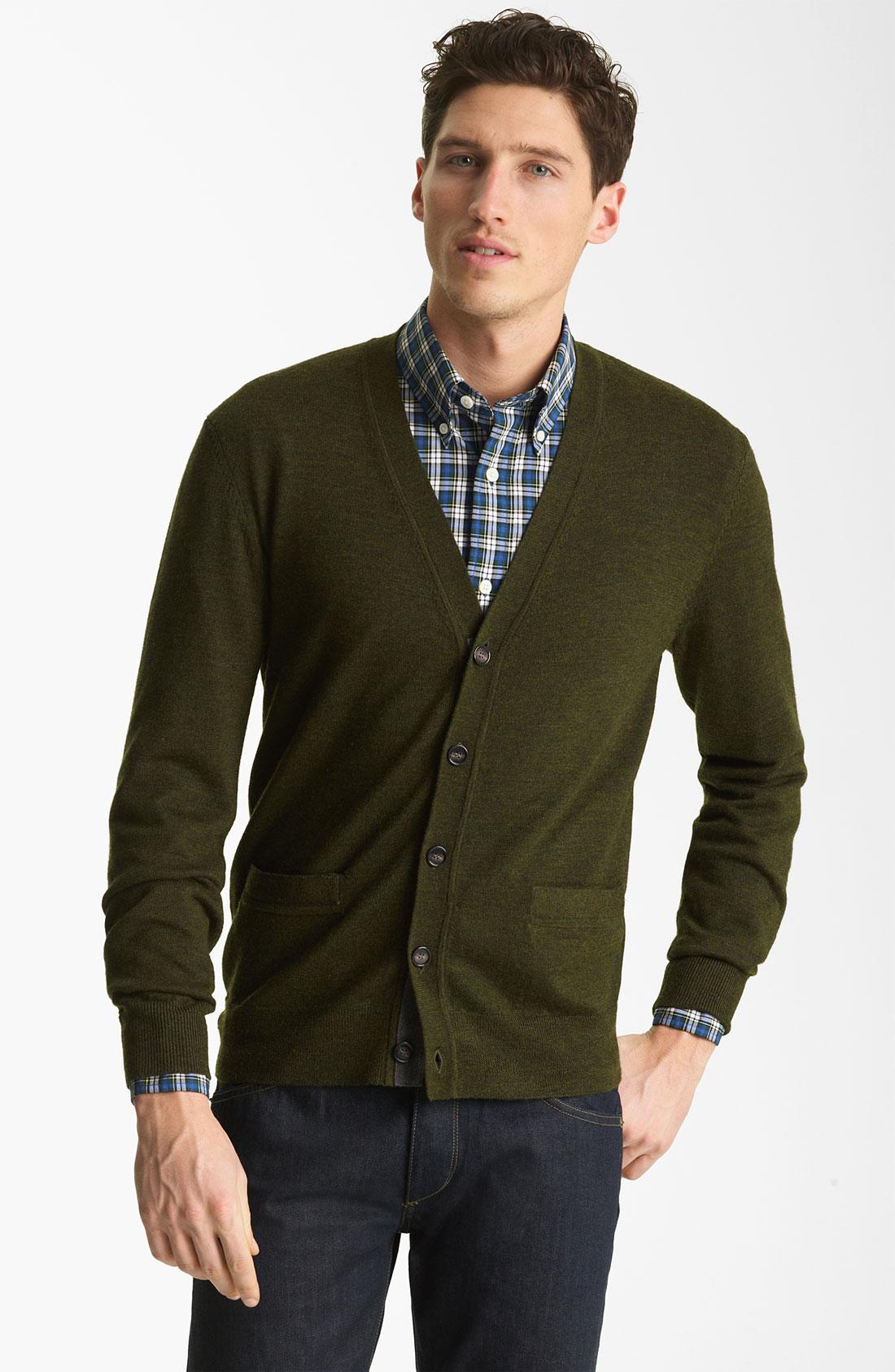 Green Cardigan Mens - English Sweater Vest