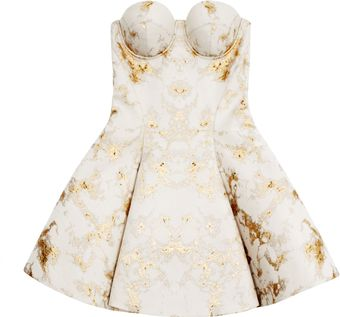 Josh Goot Gold Marble Jacquard White Corset Flare Mini Dress - Lyst