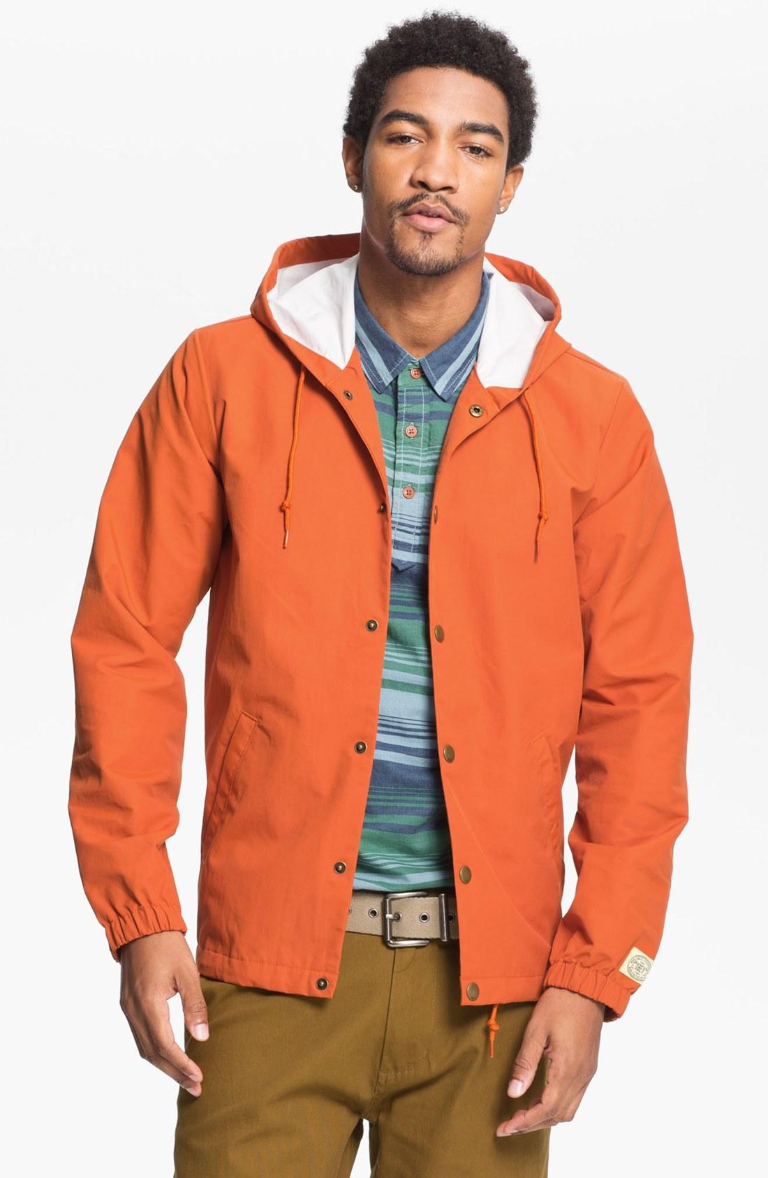 Obey Longview Hooded Rain Jacket in Orange for Men | Lyst