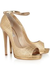 Oscar de la Renta Metallic Raffia Effect Sandals