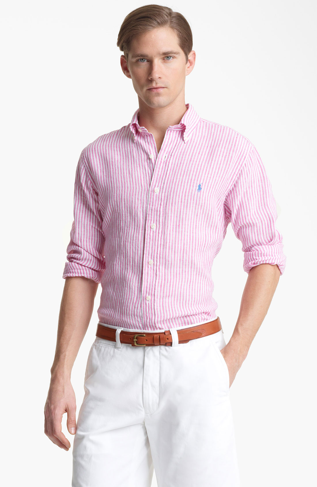 Pink Linen Mens Shirt Custom Shirt