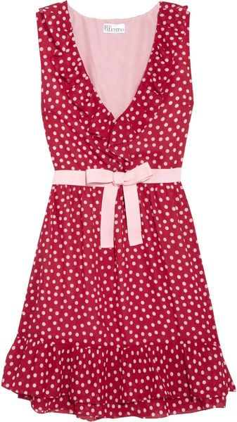 RED Valentino Polkadot Georgette Dress - Lyst