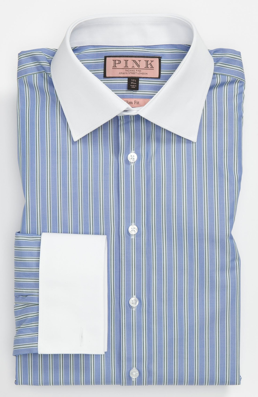 Thomas pink slim fit dress shirt in blue for men blue for Blue and yellow dress shirt