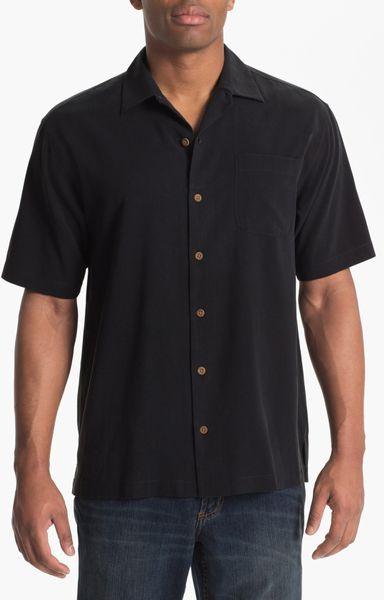 Tommy Bahama Nice Legs Silk Shirt Big Tall In Black For