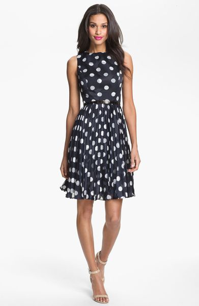 Adrianna Papell Burnout Polka Dot Fit Flare Dress In Blue