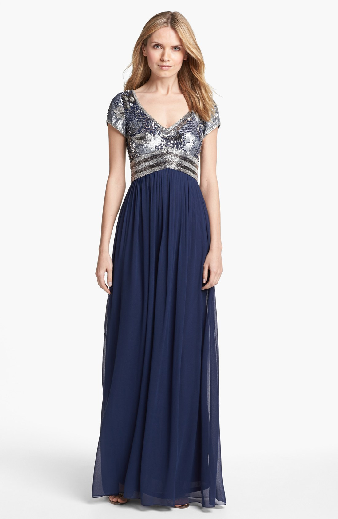 Adrianna Papell Embellished Cap Sleeve Chiffon Gown In